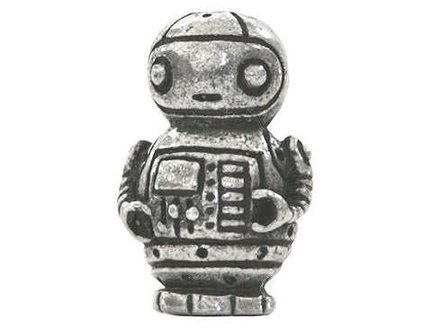 Green Girl Robot Friend 11/16 inch Pewter Bead Antique Silver Color
