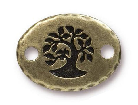 TierraCast Bird in a Tree 3/4 inch Pewter Link Brass Plated