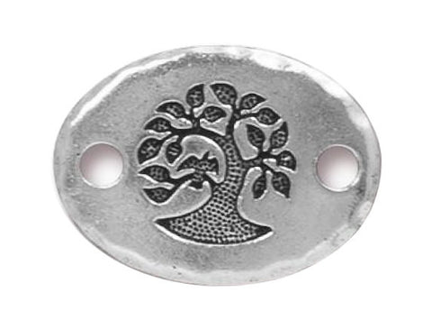 TierraCast Bird in a Tree 3/4 inch Pewter Link Silver Plated