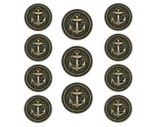 Classic Anchor 11 pc Metal Blazer Button Set Antique Brass Color