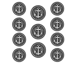 Classic Anchor 11 pc Metal Blazer Button Set Antique Silver Color