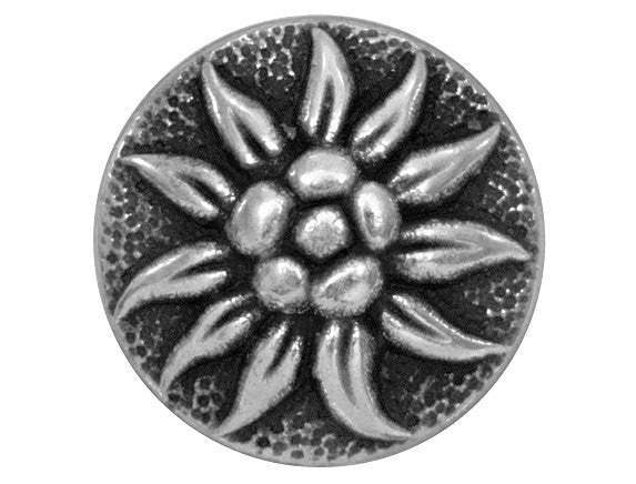 Alpine Blossom  11/16 inch Metal Button Antique Silver Color