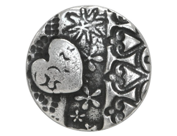 TierraCast Amor Round 5/8 inch Pewter Button Antique Silver Color