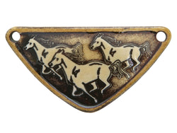Clay River Running Horses<br> Medium Triangle Porcelain Pendant<br>  Gingerbread Border