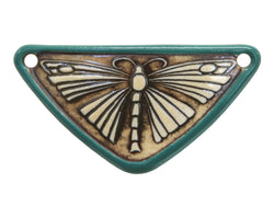 Clay River Butterfly<br>  Medium Triangle Porcelain Pendant<br>  Raintree Border