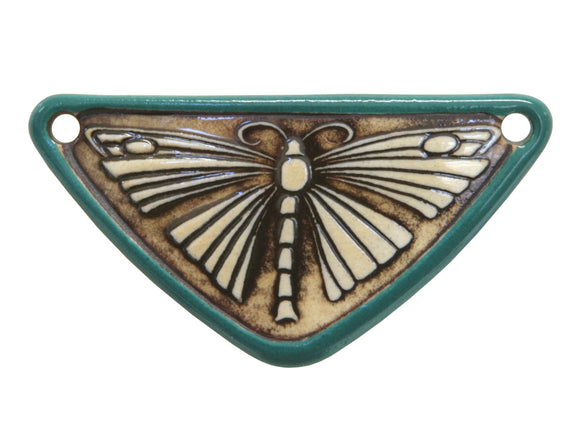 Butterfly  Medium Triangle Porcelain Pendant  Raintree Border