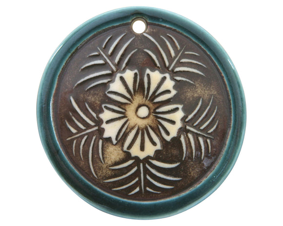 Clay River Tropical Flower Large Disc Porcelain Pendant  Ocean Mist Border