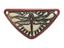 Clay River Dragonfly<br> Medium Triangle Porcelain Pendant<br>  Old Brick Border