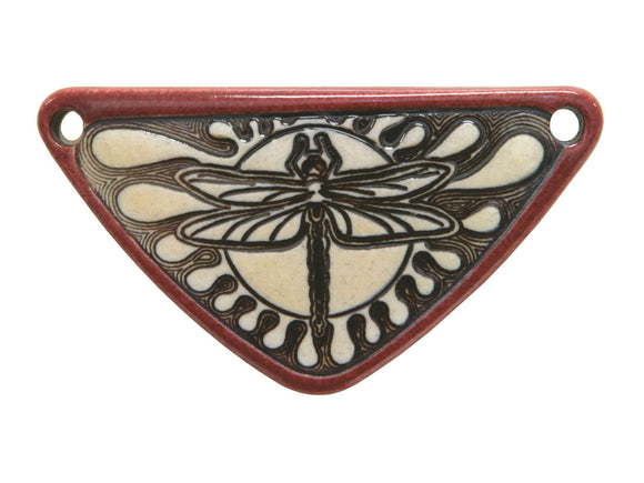 Clay River Dragonfly Medium Triangle Porcelain Pendant  Old Brick Border