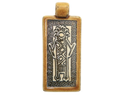 Clay River Frizzy<br> Large Rectangle Porcelain Pendant<br>  Gingerbread Border