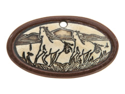 Clay River Wild Horses Small Oval Porcelain Pendant  Cocoa Border