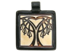 Clay River Bleeding Heart Tree Large Square Porcelain Pendant  Black Border