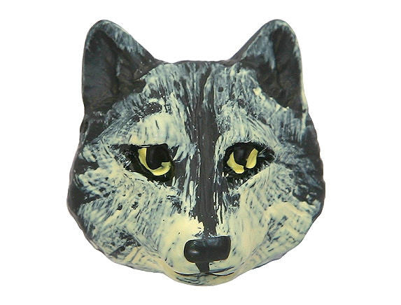 Wolf 7/8 inch ( 21 mm ) Novelty Sewing Button Gray Color