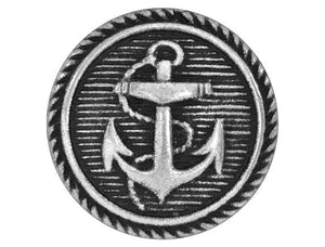 Classic Anchor 11/16 inch Metal Button Antique Silver Color