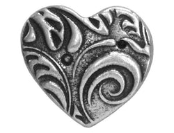 TierraCast Amor<br>  5/8 inch Pewter Button<br>  Antique Silver Color