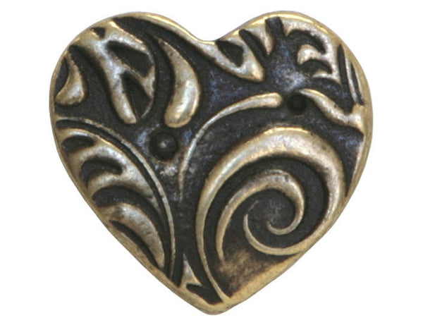 TierraCast Amor 5/8 inch Pewter Button Brass Plated