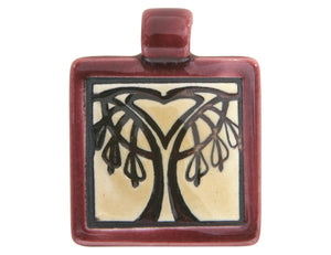 Clay River Bleeding Heart Tree Small Square Porcelain Pendant  Ruby Border