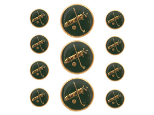Dill Golf Clubs 11 pc Metal Blazer Button Set Gold / Green Color