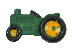 Dill Tractor Large Novelty Button Green Color
