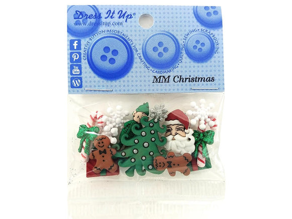 Christmas Assortment Novelty Buttons Dress It Up Theme Pack
