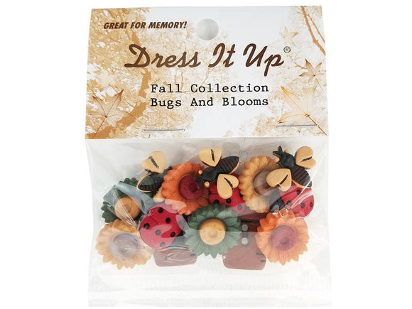 Jesse James Bugs and Blooms Ladybugs Flower Pots Fall Novelty Buttons Dress it Up Theme Pack
