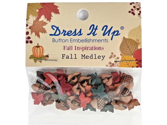 Jesse James Fall Medley Autumn Leaves Acorns Novelty Buttons Dress it Up Theme Pack