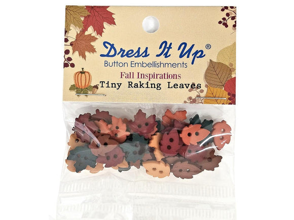 Jesse James Tiny Raking Leaves Fall Autumn Two Hole Novelty Buttons Dress it Up Theme Pack