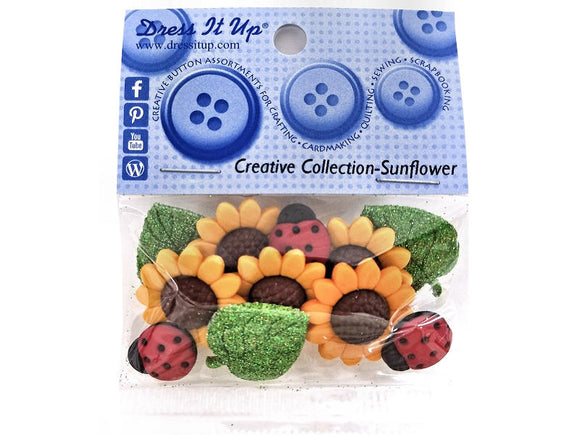 Jesse James Dress It Up Sunflowers Ladybugs Leaves Novelty Buttons