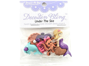 Dress it Up Under the Sea Mermaid Dolphin Octopus Novelty Buttons Jesse James Theme Pack