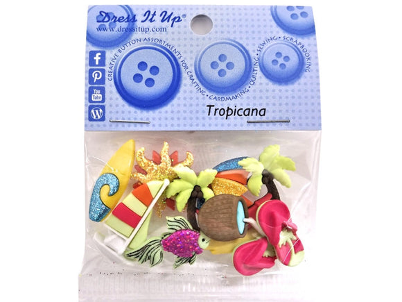 Tropicana<br> Novelty Buttons<br> Dress It Up Theme Pack
