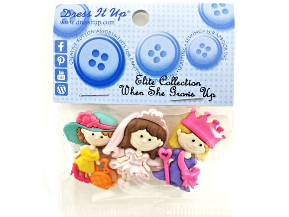 When She Grows Up<br> Novelty Buttons<br> Dress It Up Theme Pack