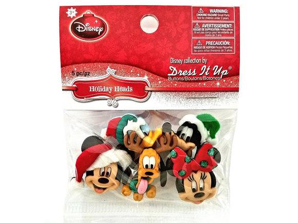 Christmas Disney Holiday Heads Novelty Buttons Jesse James Dress it Up Theme Pack