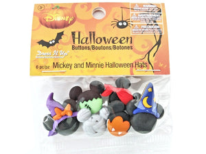 Disney Mickey and Minnie Halloween Hats<br> Novelty Buttons<br> Dress It Up Theme Pack