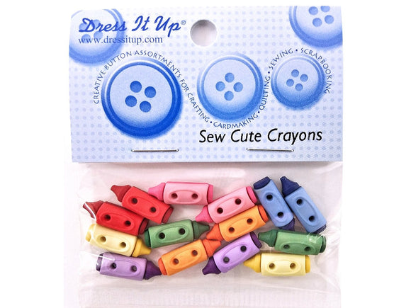 Sew Cute Crayons<br> Novelty Buttons<br> Dress It Up Theme Pack