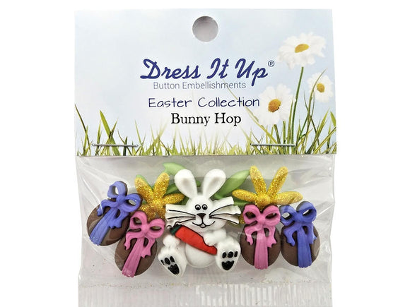 Bunny Hop<br> Novelty Buttons<br> Dress It Up Theme Pack