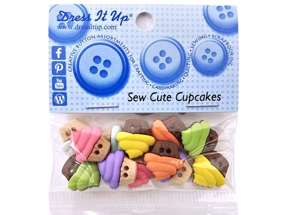 Sew Cute Cupcakes<br> Novelty Buttons<br> Dress It Up Theme Pack