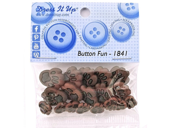 Dog Paws<br> Novelty Buttons<br> Dress It Up Theme Pack