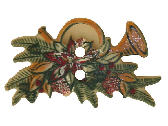 Dill Christmas Horn Large Novelty Button Multi Color