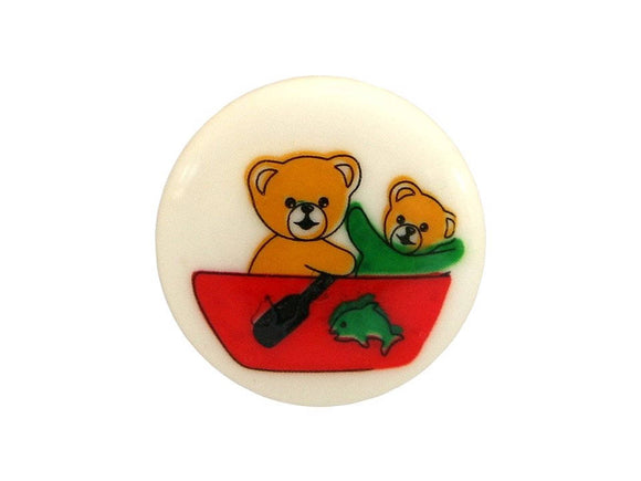 Dill Bears in a Boat 9/16 inch Novelty Button Multi Color