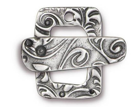 TierraCast Jardin Pewter Clasp Bar and Ring Set Antique Silver Color