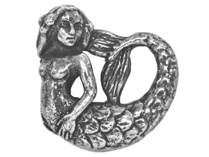 Green Girl Swimming Mermaid 7/8 inch Pewter Pendant Antique Silver Color