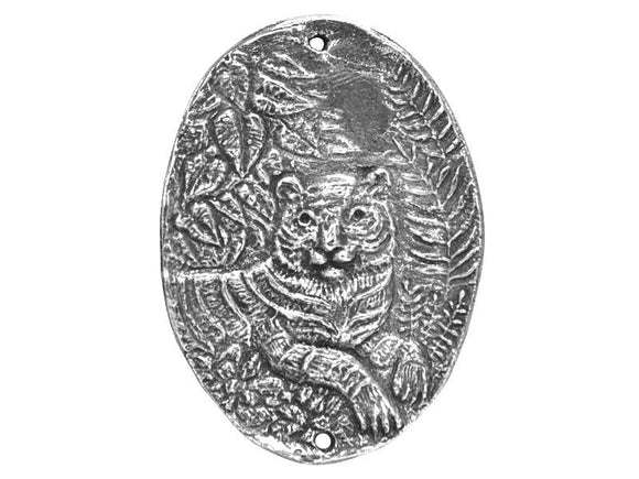 Green Girl Tiger 1.5 inch Pewter Link Pendant Antique Silver Color
