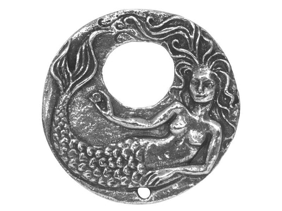 Green Girl Mermaid Remembrance 1.25 inch Pewter Pendant Antique Silver Color
