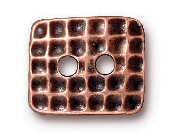 TierraCast Hammertone Rectangle 5/8 inch Pewter Two Hole Button Copper Plated