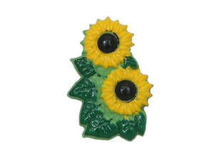 Dill Sunflowers Extra Large Novelty Button Yellow Color