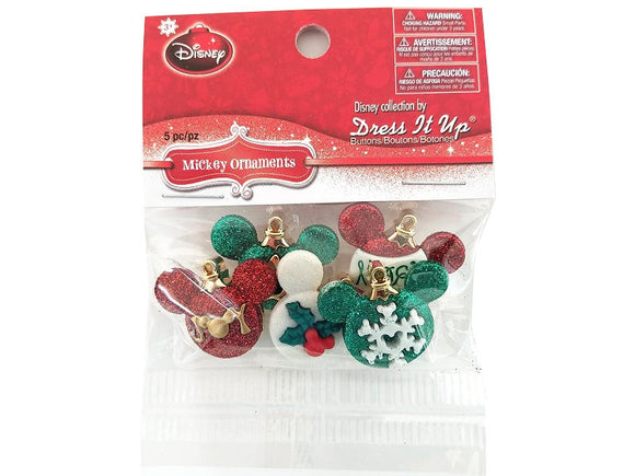 Christmas Disney Mickey Ornaments<br> Novelty Buttons<br> Dress It Up Theme Pack