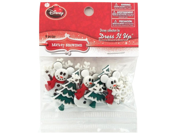 Disney Mickey Snowmen Buttons and Flatbacks<br> Dress It Up Theme Pack