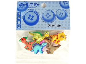 Dino-mite Dinosaurs<br> Novelty Buttons<br> Dress It Up Theme Pack