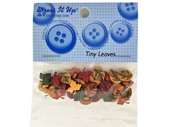 Dress it Up Tiny Leaves Fall Autumn Novelty Buttons Jesse James Theme Pack