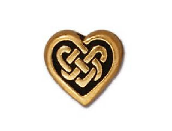TierraCast Celtic Heart 3/8 inch Gold Plated Pewter Bead